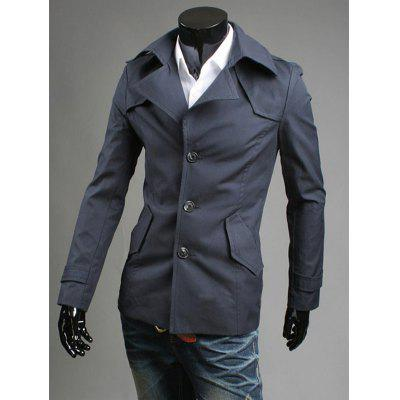 Men Fashionable Single-breasted Slim Trench Coat