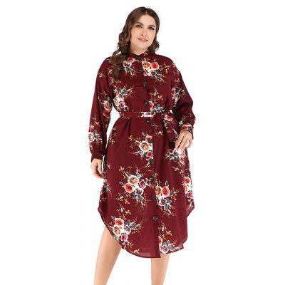 12 A135 Women's Round Neck Long Sleeve Printed Dress