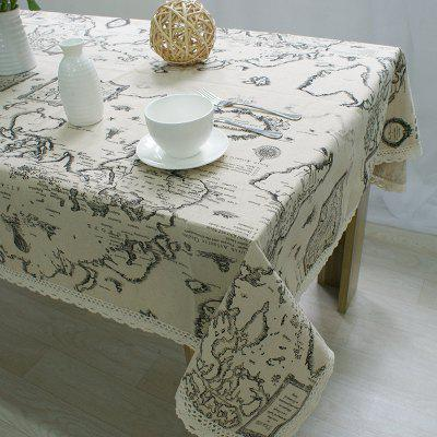 World Map Printed Cotton Linen Cover Towel Universal Tablecloth