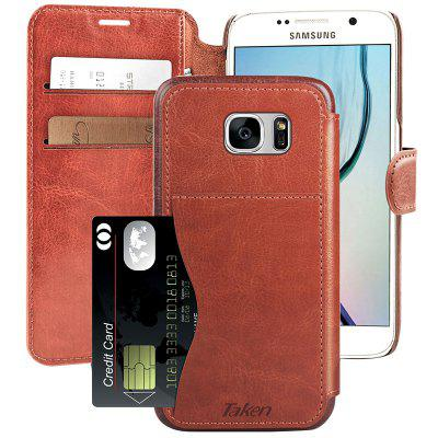 Leather Wallet Case Credit Cards Slot Metal Magnetic with Rubber Edge for Samsung Galaxy S6
