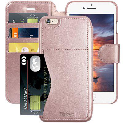 Leather Wallet Plastic Phone Case With Cards Slot And Metal Clip For iPhone 6/6S Plus 5.5 Inch Phone