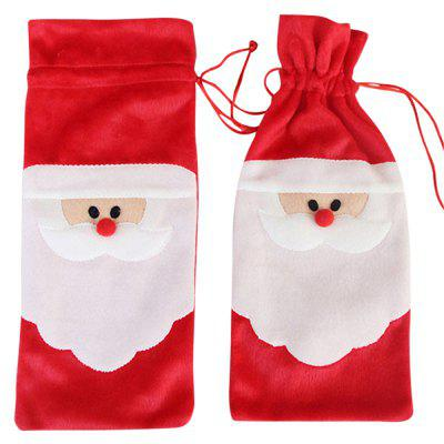 Santa Claus 1 Piece Red Wine Bottle Cover Bags Christmas Dinner Table Decoration Home Party