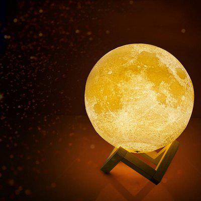 18cm 3D Printing Moon Night Light Remote Control for Home Decoration
