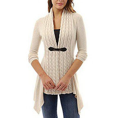 Women's Europe and American Strap V-neck Long-sleeved Shirt Twist Cardigan