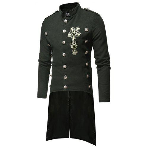 ad9db25f66 Men Single-breasted Stand Collar Slim Trench Coat | Gearbest