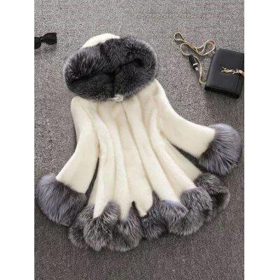 Autumn And Winter Faux Rabbit Fur Fox Fur Hooded Coat