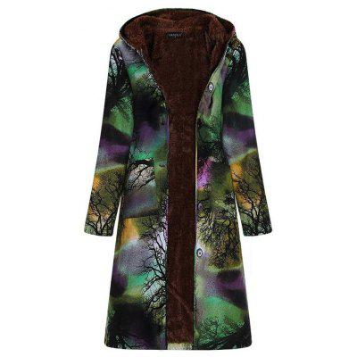 Women Long-sleeve Large Size Long Cotton Linen Vintage Ink Printing Plus Velvet Hooded Parka