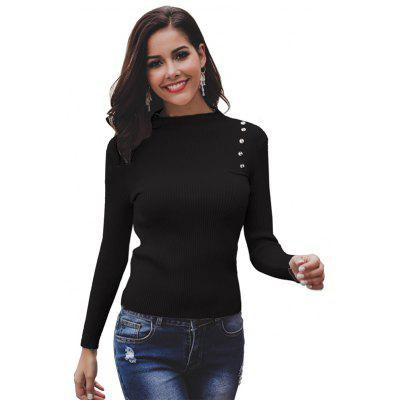 Solid Color Personality Button Slim Round Neck Long-sleeve Knit Sweater