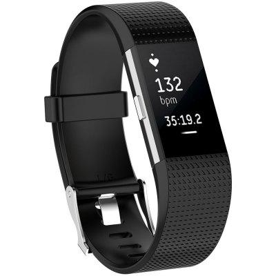 Rubber Strap Plaid Watch Wristband For Fitbi Charge2