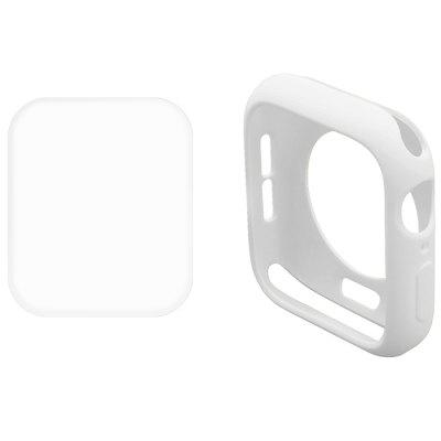 Hat-Prince 2 In 1 Solid Color TPU Half Pack Case Transparent 3D PET Curve Hot Bend HD Screen Protector for Apple Watch Series 4