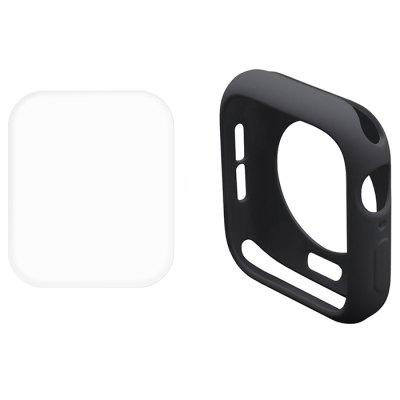Hat-Prince 2 en 1 caja de medio paquete de TPU de color sólido Transparente 3D PET Curva Protector de pantalla Hot Bend HD para Apple Watch serie 4