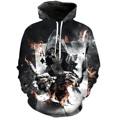 Cool Personality Poker 3D Digitális nyomtatás Tide Man Hooded Pullover Hoodies