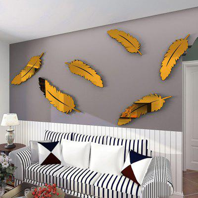 Mirror Feather Acrylic 3D Wall Sticker