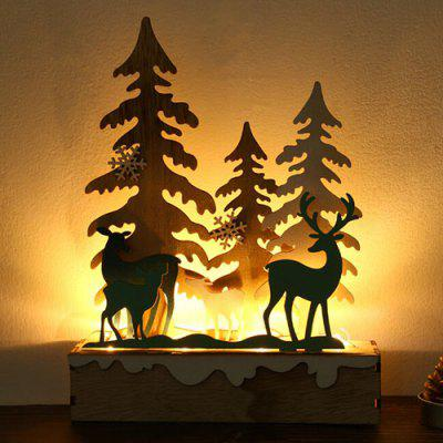 Creative Small Fresh Exquisite Lighted Wooden Christmas Tree Elk Ornaments