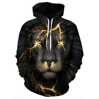 Black Lion 3D Digital Printing Large Size Baseball Uniform Hooded Couple Sweater