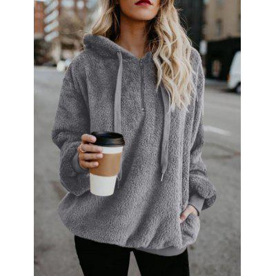 Long-sleeve Hooded Solid Color Women Sweater