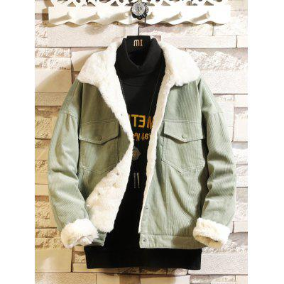 YC16 Stylish Men's Lapel Lamb Cotton Jacket