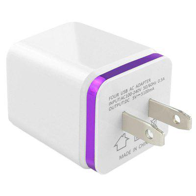 4 USB Port Metal Phnom Penh 5V 3A Mobile Phone Flat Wall Charging Travel Charger
