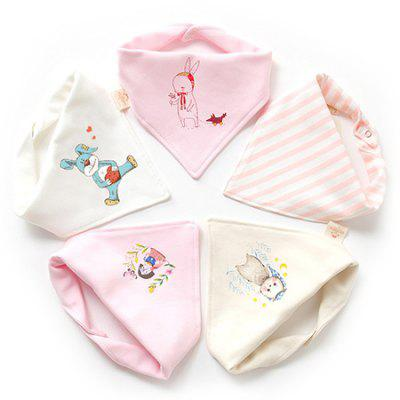 Baby Triangle Cotton Baby Double Button Newborn Child Bib 5pcs