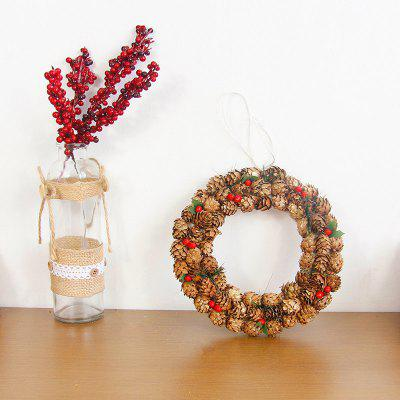 Christmas Wreath Door Hanging Pinecone Tree Decoration Rattan