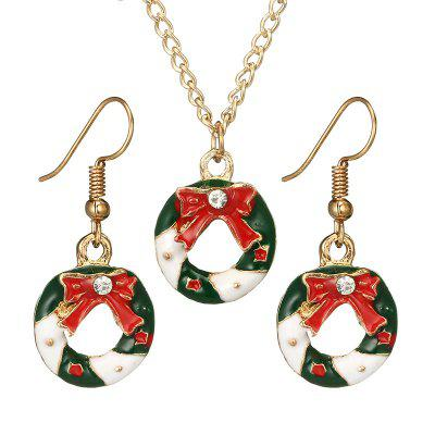Creative Christmas Series Color Diamond Snowflake Colgante Pendientes Pendientes Collar 3pcs