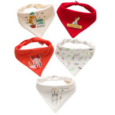 A Type Baby Triangle Saliva Towel Cotton Bib Double Button Newborn Child Turban 5PCS