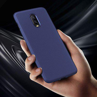 QULLOO Soft TPU Gel Shell Twill Bumper Protective Simple Stylish Anti-Scratch Phone Back Protector Cover Case for OnePlus 6T