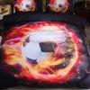 Sports World Cup Soccer Quilt Cover Pillowcase Bedding 210 x 210cm - BLACK