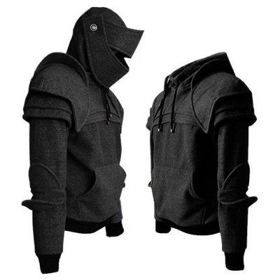 Solid Color Men 's Retro Cotton Drawstring Mask Knight Hoodie