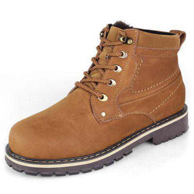 Men's Concise Solid Color Leather Tooling Boots
