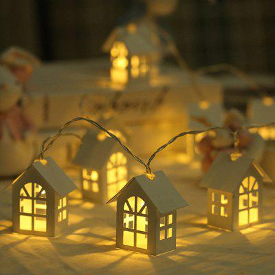 10 LED Small Nordic Christmas Decoration Wooden House Light String 2M