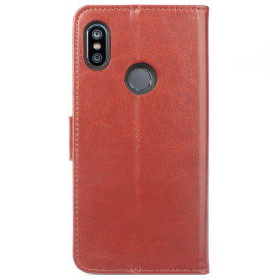 Card Slot Design Bracket Solid Color PU Pull-up Leather Mobile Phone Holster for Xiaomi Redmi 6 Pro