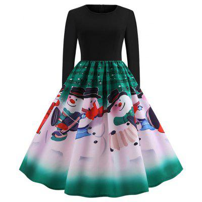 Christmas Musical Print Long Sleeve Round Neck Dress