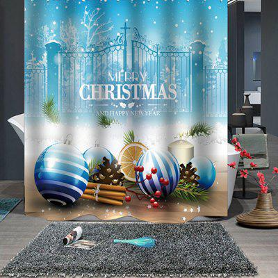 Christmas Print Pattern Waterproof Breathable Mildew Shower Curtain for Bathroom Partition