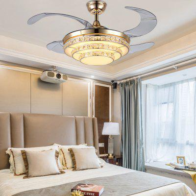 Simple Three-layer Crystal Pendant Light with Fan for Home