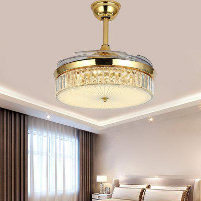 Modern Minimalist LED Crystal Pendant Light with Fan for Home