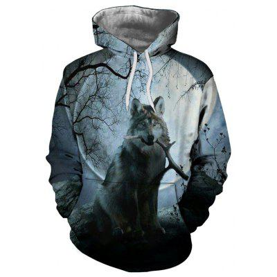 Men's Printing Wolf Pullover Hooded Sweater Europe and America Hoodie