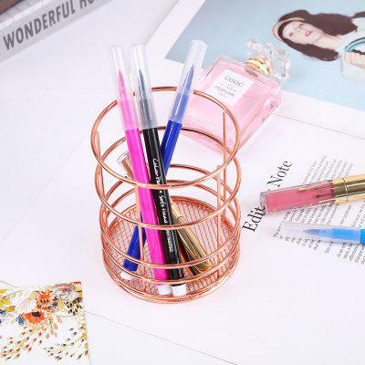 Round Pen Holder, Rose Gold Iron Storage Hamper, Kitchen Chopsticks Cage, Litter Basket