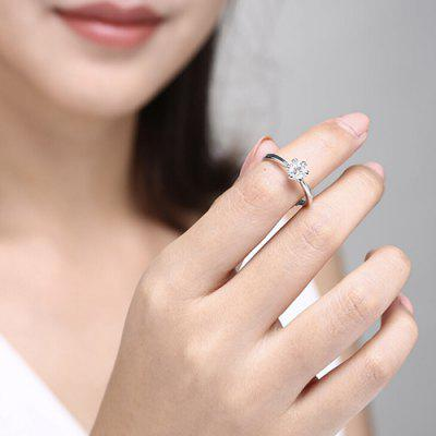 D Color IF Clarity LUCKYME Classic 50 Points I Love Diamond Ring - Silver US 8