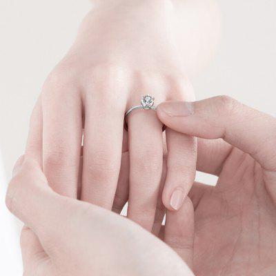Classic Shining Diamond Ring 32 Points FG Color SI from Xiaomi youpin - Silver US 8