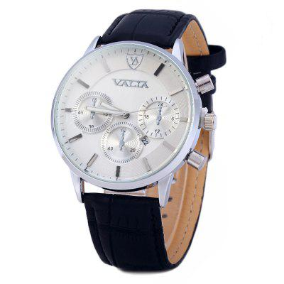 Valia Men's Quartz Watch Calendar Business Leather