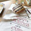Christmas Cotton Napkins Oil-proof Anti-fouling Anti-dirty Tea Towel Cover Double-layer Placemat - WHITE