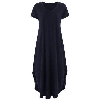Women Long Dress Sexy Split V-neck