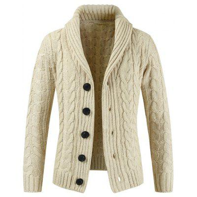 Men's Long Sleeve Sweater Lapel Cardigan Knit Jacket