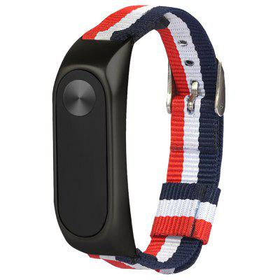 TAMISTER Striped Canvas Alloy Shell Replacement Wristband for Xiaomi Mi Band 2