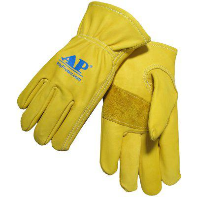 AP - 2700 Light Yellow Cattle Green Leather Gloves