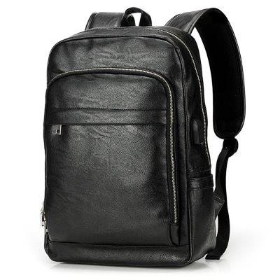Concise Solid Color Casual Men's Backpack