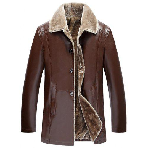 High-grade PU Leather Clothing Fashion Anti-Cold Warm Fur One Lapel Zipper Coat