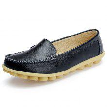 Women s Peas Shoes Leather Flat Bottom Large Size