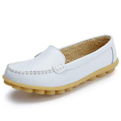 Women's Peas Shoes Leather Flat Bottom Large Size